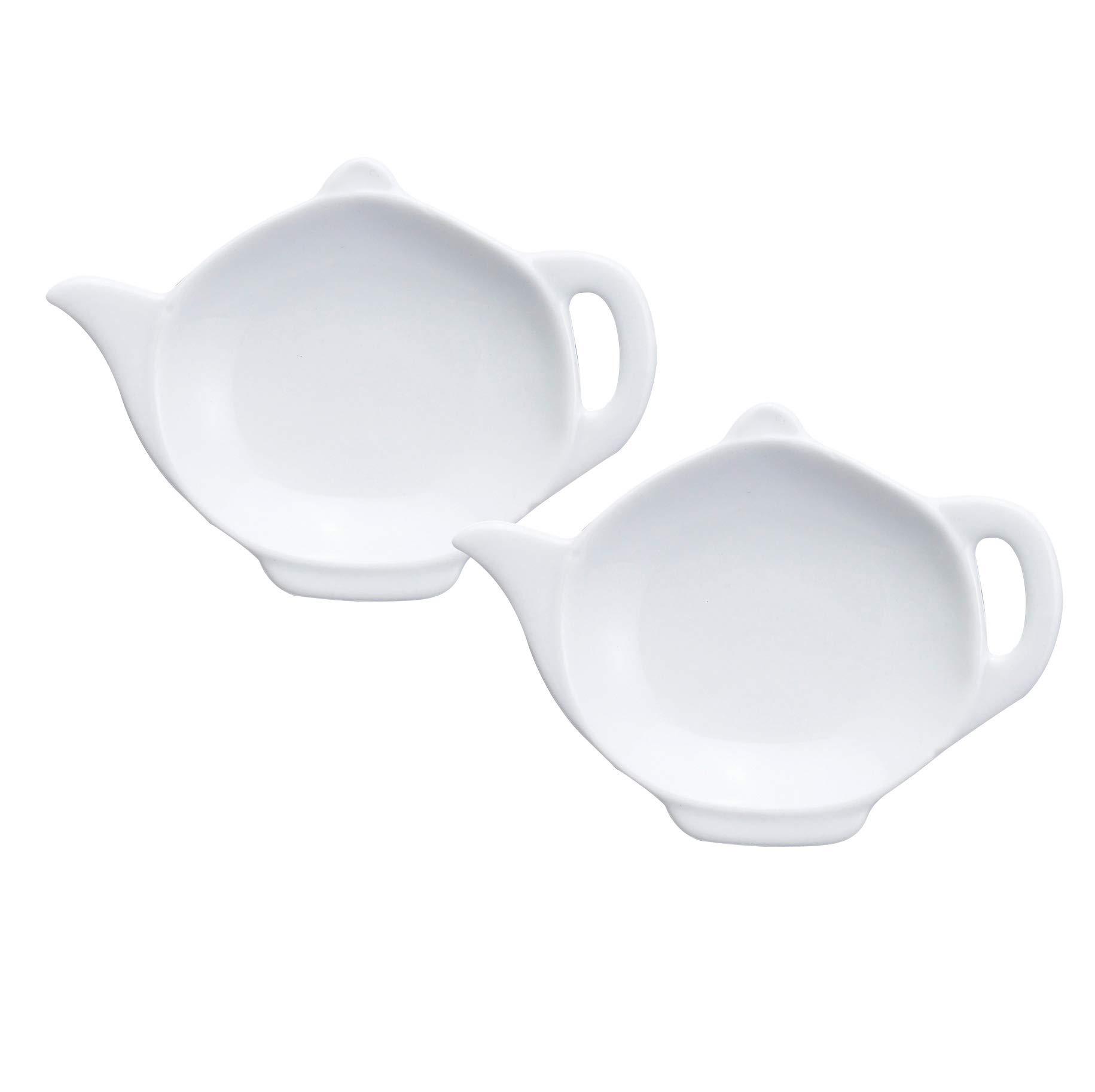 HIC Harold Import Co. 75/19/2 HIC Teapot-Shaped Tea Bag Holder and Resting Caddy Set of 2 Fine White Porcelain