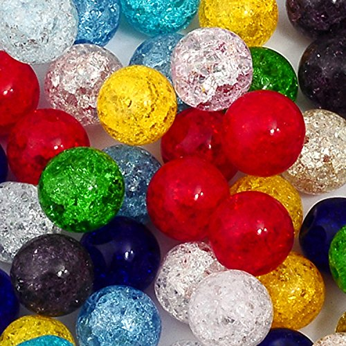RUBYCA Assorted Round Frosted Crackle Glass Loose Beads Druk Czech Crystal Mixed Color 10mm 100pcs (Earrings Multi Chandelier Shape)