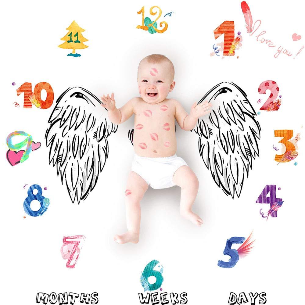 Baby Milestone Blanket, Swaddling Blanket Photography Props Backdrop for Newborn Boy Girl WDDH