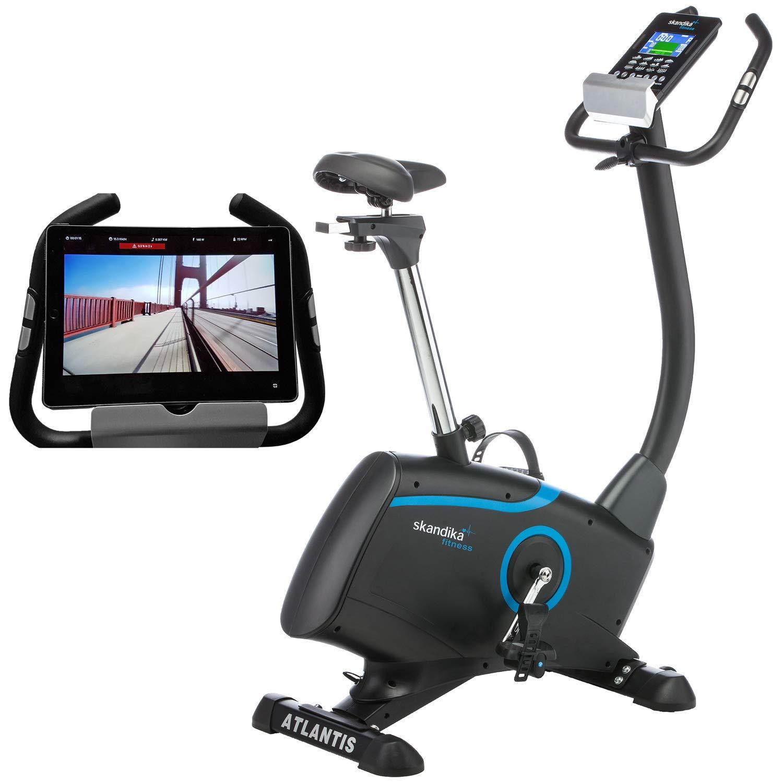 Skandika Ergometer Atlantis SF-1600 mit App Steuerung und iConsole Trainingskontrolle, Körperfettmessung, 10 kg Schwungmasse, 32-stufige elektronische Widerstandseinstellung, schwarz/blau
