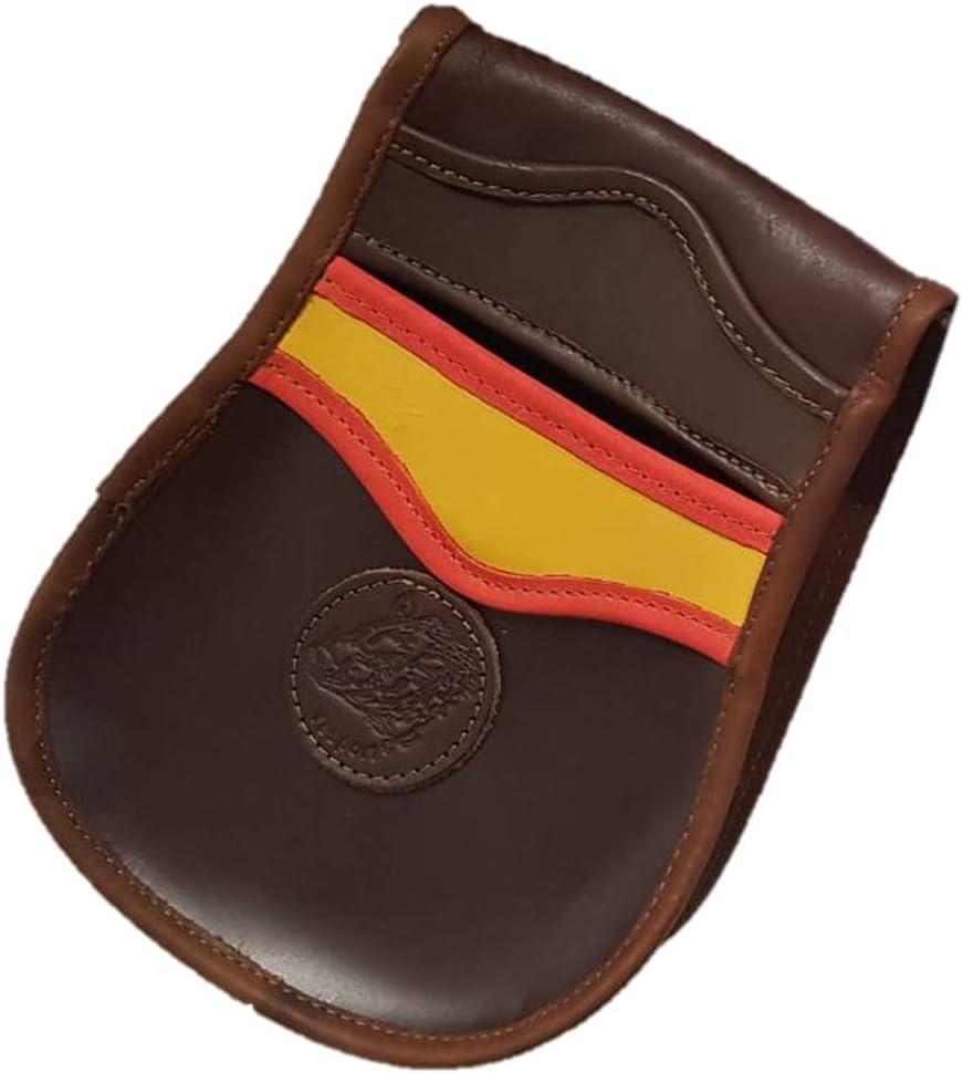 CAZA Y AVENTURA Una Bolsa de ojeo-Bolsa portacartuchos de Cuero,con Detalle Bandera de España, para Llevar en el cinturón.para 50 Cartuchos: Amazon.es: Deportes y aire libre