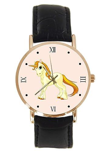 Reloj de Pulsera con diseño de Unicornio de pie, clásico, Unisex, analógico, de Cuarzo, de Acero Inoxidable, con Correa de Piel: Amazon.es: Relojes