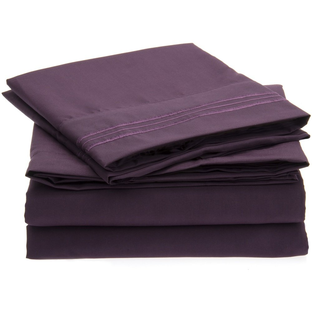 Harmony Linens Bed Sheet Set - 1800 Double Brushed Microfiber Bedding - 4 Piece Queen, Purple