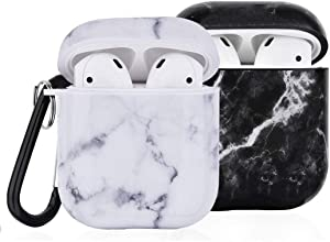 (2 Pack) Compatible with AirPod Case Cover, I.P 2 in 1 Marble Cute Case Protective Cover with Keychain Compatible with Apple AirPods Charging Case 2&1 for Girls Women Men, Black & White