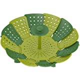 Joseph Joseph 40023 Lotus Steamer Basket Folding Non-Scratch for Steaming Vegetable Silicone Feet, Green