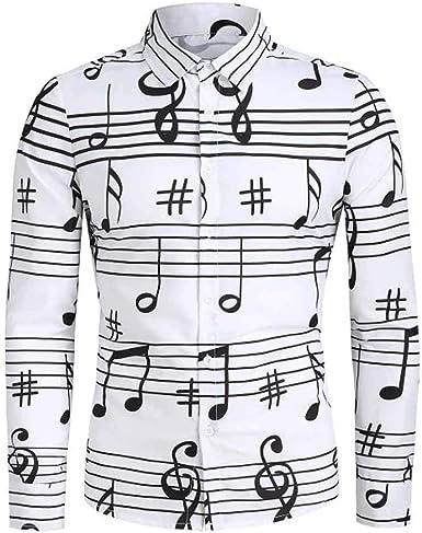 MrTom Camisas Hawaianas Hombre Manga Larga Slim Fit Blusas Camisas Casual Fiesta Señores Tallas Grandes Impresión de Notas Musicales Camisa Blanca de Vestir Formales con Botón: Amazon.es: Ropa y accesorios