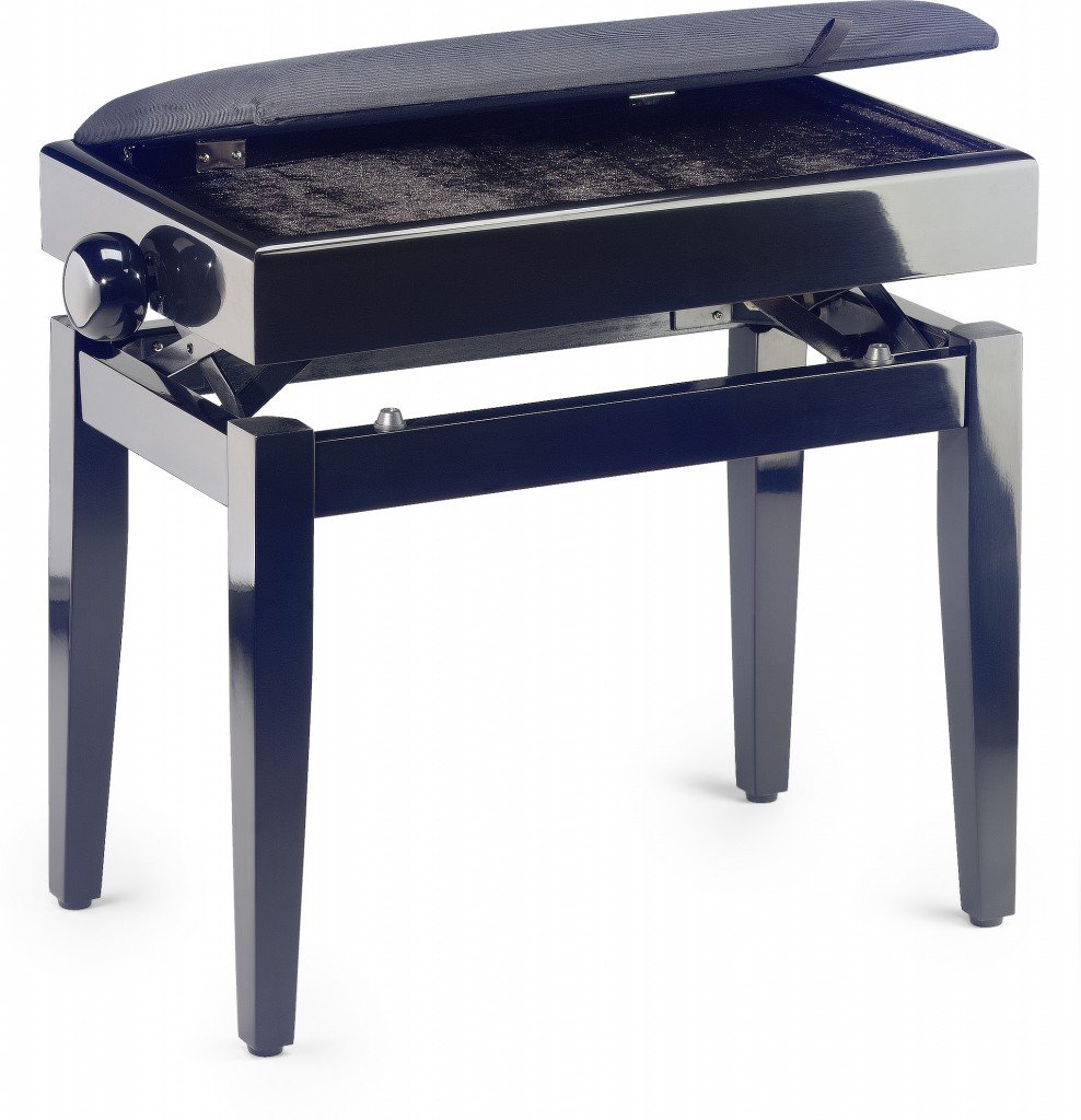 Stagg PB55 High-Gloss Adjustable Flip-Top Piano Bench with Sheet Music Storage - Black Velvet
