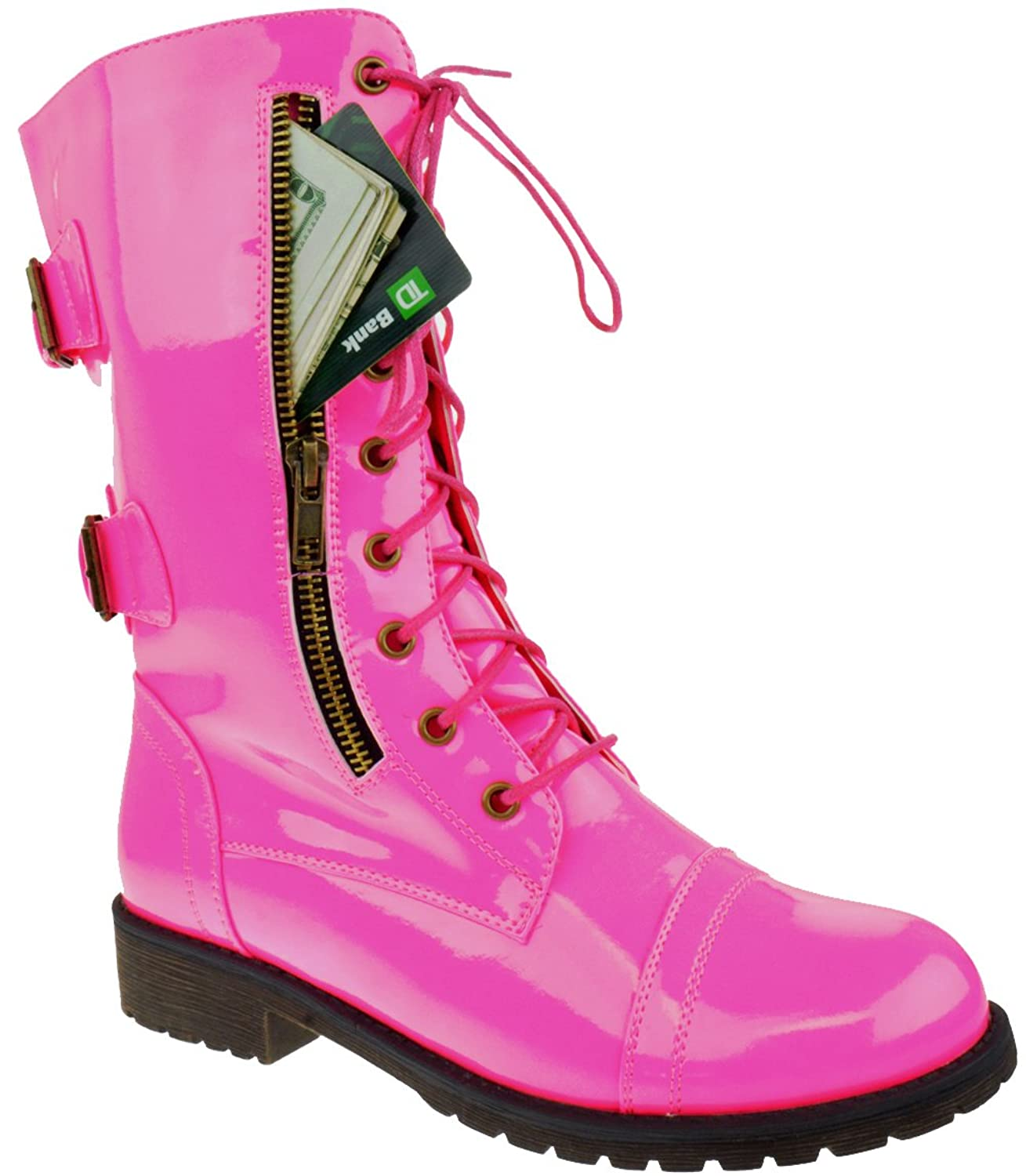 Docc 88 Womens Patent Combat Lace Up Buckle Functional Zipper Pocket Boots Pink