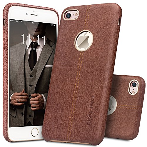 iPhone 7 Case, QIALINO Stylish Genuine Leather Back Cover Protective Bumper Case...