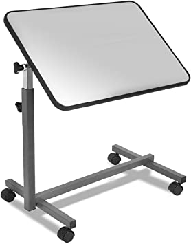 Hospital Over Bed Table Rolling Desk Top Laptop Food Wooden Tray Adjustable Tilt