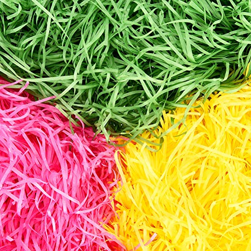 Blulu 3 Bags Easter Basket Grass Shredded Paper Gift Basket Filler for Eggs Stuffers Crafts Party Supplies, 10.5 Ounces Totally