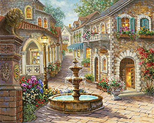ABEUTY DIY Paint by Numbers for Adults Beginner - Fountain & Flower House & Stone Lion 16x20 inches Number Painting Anti Stress Toys (No Frame)
