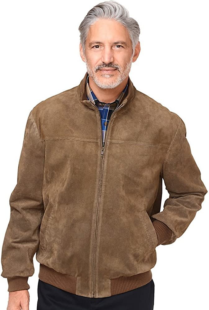 Paul Fredrick Mens Perforated Suede Bomber Jacket