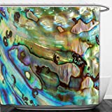 Interestlee Shower Curtain close up background of blue green and purple abalone pearl shell 215655478