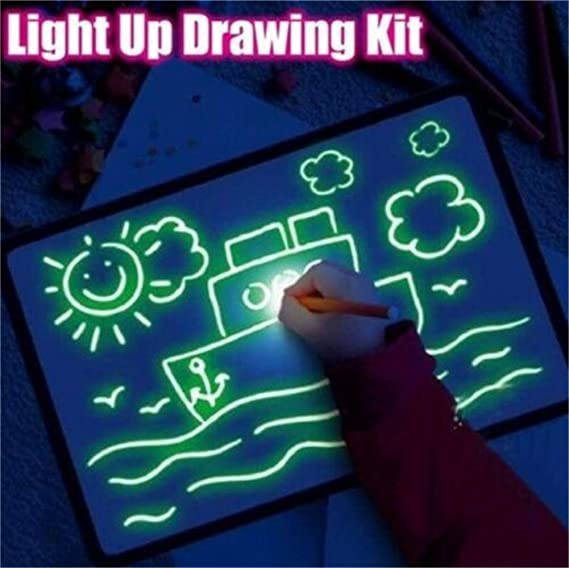 Size : A3 3D Pizarra luminosa Draw With Light Fun Pizarras m/ágicas para ni/ños Tablets de escritura LCD y eWriters Tablero de escritura fluorescente