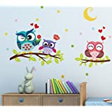 "BIBITIME Night Moon Star Sky Wall Sticker Love Family Owls on the Tree Branch Wall Decal for Nursery Bedroom Kids Room Decor,25.19"" x 16.92"""