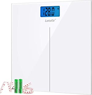 Letsfit Digital Body Weight Scale, Bathroom Scale with Large Backlit Display, Step-On Technology, Ultra Slim Design, White