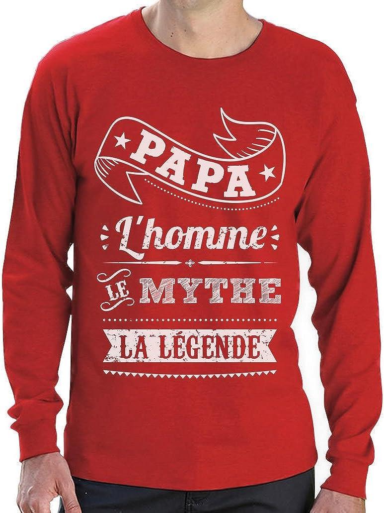 Green Turtle T-Shirts Papa lhomme Le Mythe la l/égende F/ête des P/ères T-Shirt Manches Longues Homme