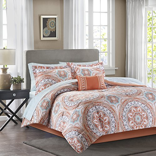 Madison Park Essentials - Serenity Complete Bed & Sheet Set - Coral & Aqua - Queen - Medallion (Queen Complete Bed)