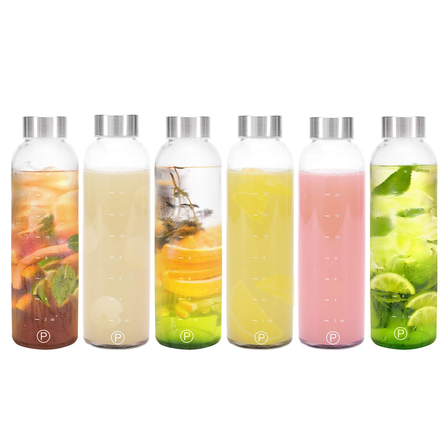 Pratico Kitchen 18oz Leak-Proof Glass Bottles, Juicing Containers, Water/Beverage Bottles - 6-Pack by Pratico Kitchen