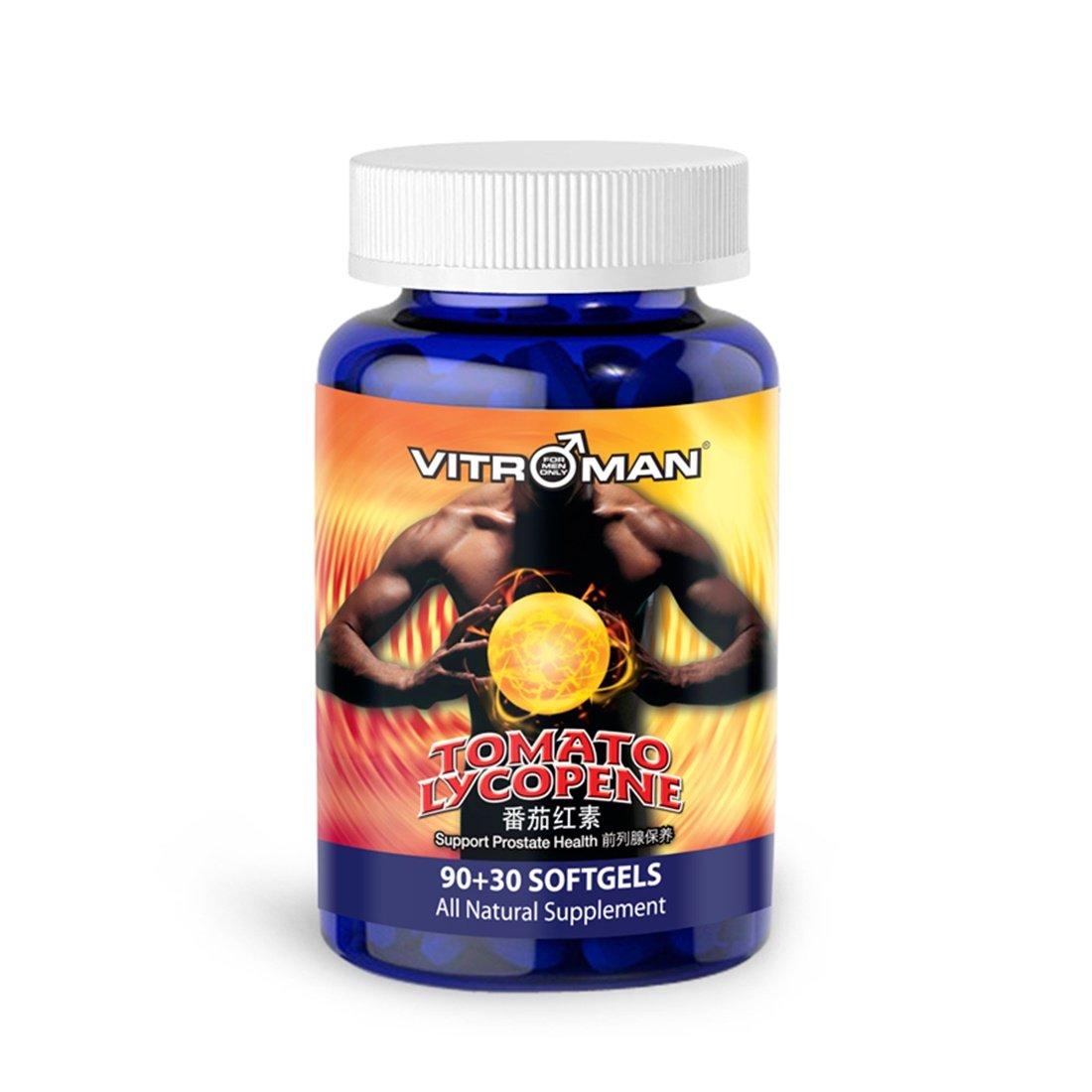 VITROMAN Tomato Lycopene (120 softgels), Cardiovascular Support, Premium Quality Antioxidant - 100% Natural Tomato - Great For Prostate Health Immune System Support Eyesight Support Health Supplement