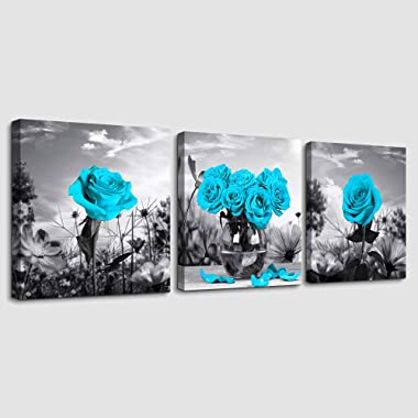 Canvas Wall Art for Bedroom Black and white landscape Blue rose flowers Bathroom Wall Decor Canvas Prints Watercolor 12  x 12  3 Pieces Framed modern Home Decoration Living Room office kitchen Artwork