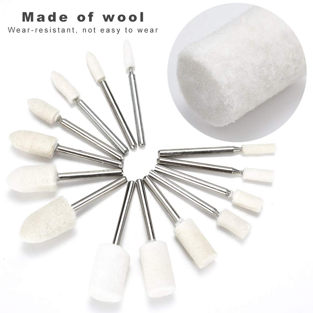 Abrasive Buffing Wheel for dremel Accessories Rotary Tools 50 pcs Wool Felt polishing Pads Assorted Size 3//4//5//6//8//10//12 mm in Diameter