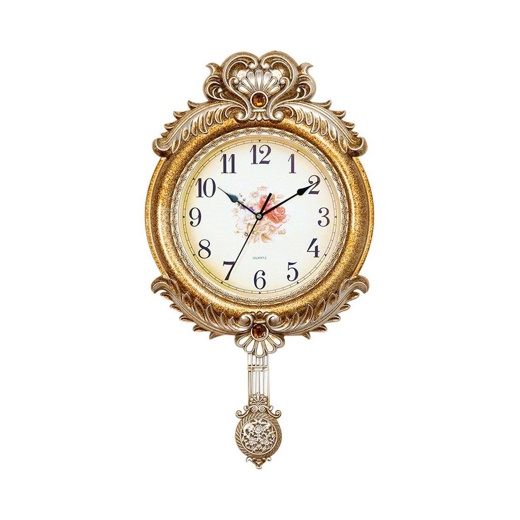掛け時計 ヨーロッパスタイルレトロウォールクロック金振り子の寝室のリビングルームミュート装飾 Rollsnownow B07FCH37SN
