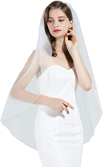 """New White Ivory Wedding Bridal Lace Edge 1 Tier Veil Knee Length 70/"""" with Comb"""