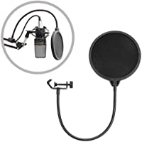 Recording Studio Microphone Mic Round Shape Wind Screen Pop Filter Mask Shield Double Layer (1 Pack)