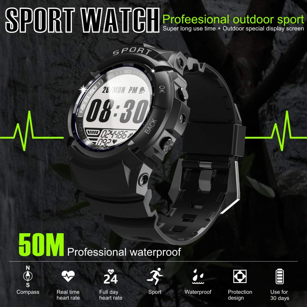 Sport Watch for Men Smart Fitness Activity Tracker IP68 164ft Waterproof with HR Heart Rate Monitor, Step Calorie Counter, Pedometer, Compass,6 Multi-Sport Mode, 30 Days Working Time for Outdoor Watch