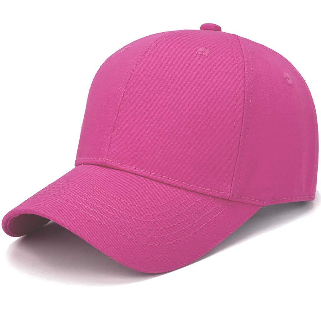 Toponly Solid Color Outdoor Sun Hat Cotton Adjustable Snapback Hats Men's Women's Hip-Hop Flat Bill Baseball Caps 56~60cm Hot Pink