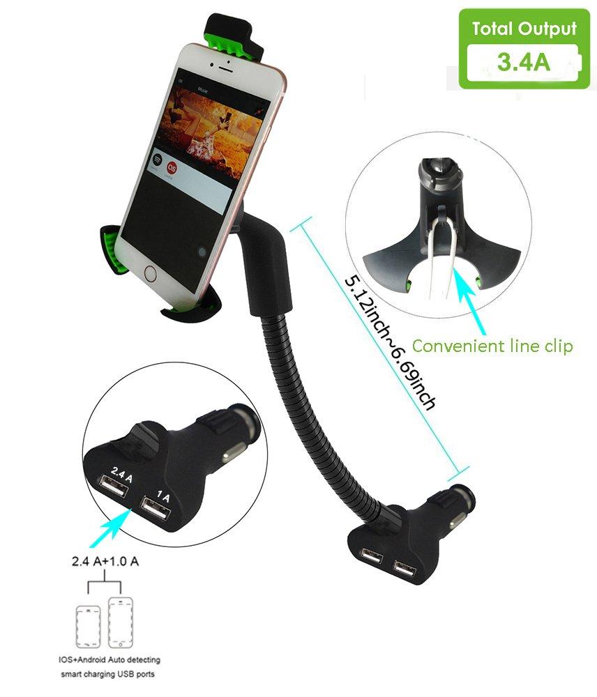 Supporto Auto per Cellulare con Doppia USB 3.4A Caricatore,Supporto per iPhone XR// 8//8 Plus,Galaxy S9 Edge//Note 9,Huawei Mate 10// P20// P10 etc.