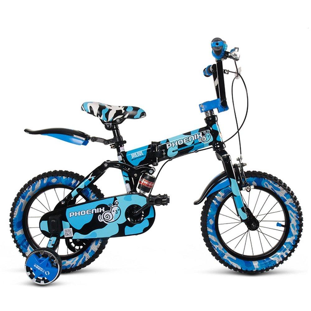 HAIZHEN マウンテンバイク チャイルドフォールド自転車3-6-8歳のベビーベビーカー12インチ14インチ16インチバイク 新生児 B07C6V86L8 16Inch|青 青 16Inch