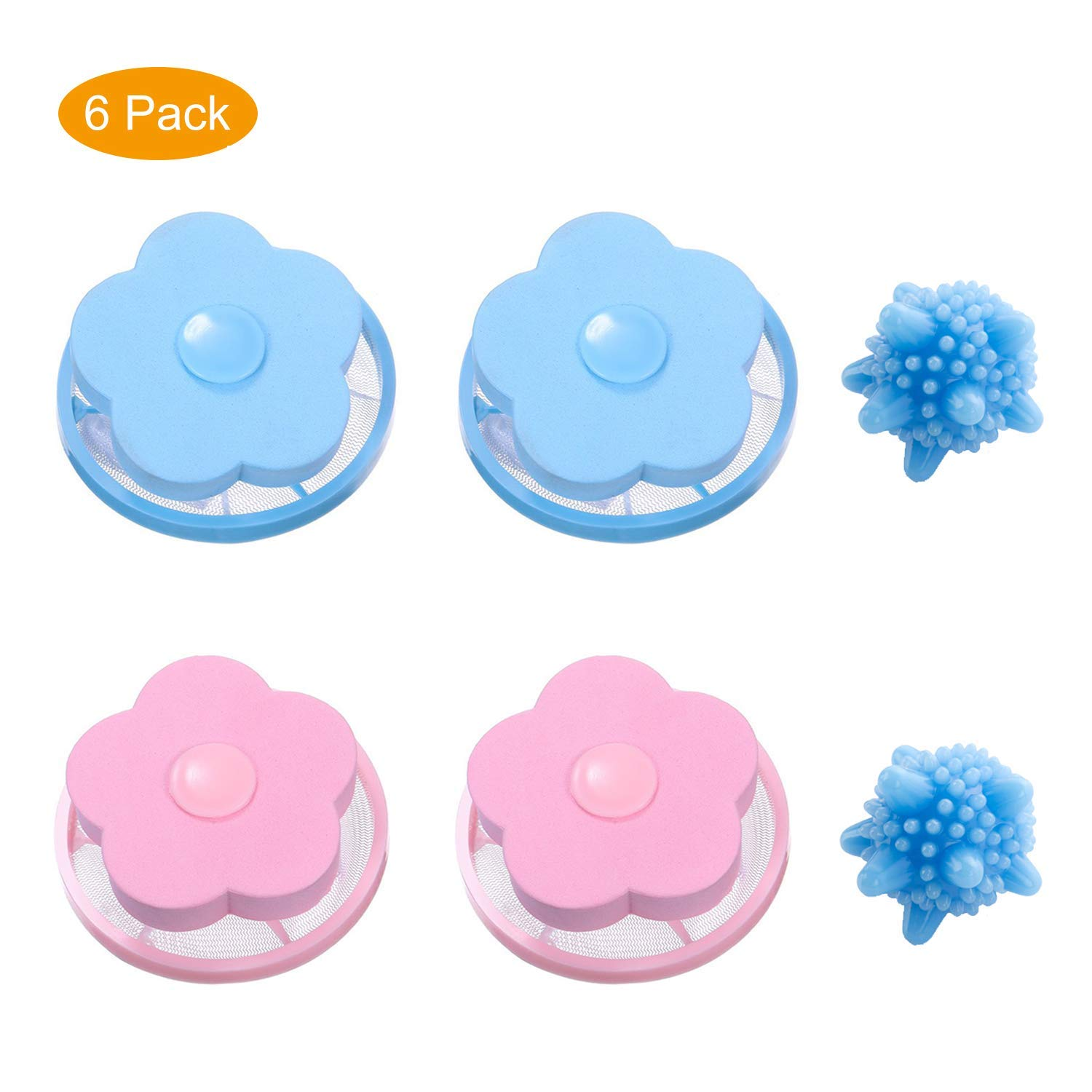 Pet Fur Remover Hair Catcher Pouch Flower Floating lint mesh Bag Reusable Washing Machine Filter net lint Trap with Laundry Ball (Pink,Blue and Ball)