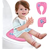 Lightweight Folding Travel Potty Seat for Kid with Carry Bag, Portable Toddlers Potty Seat by Iserlohn, Pink