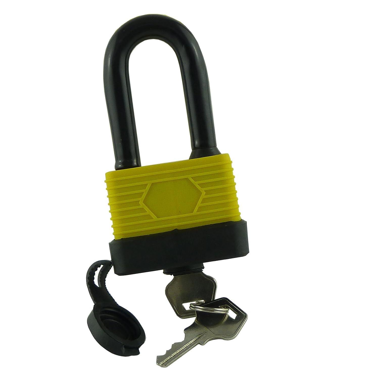 Bid Buy Direct - Candado con arco largo (resistente al agua, 50 mm), color negro y amarillo BID-BUY-DIRECT