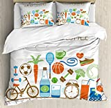 Fitness Duvet Cover Set Queen Size by Ambesonne, Healthcare Theme Athletic Energetic Life Routine Wellness Gym Equipment Vegetables, Decorative 3 Piece Bedding Set with 2 Pillow Shams, Multicolor