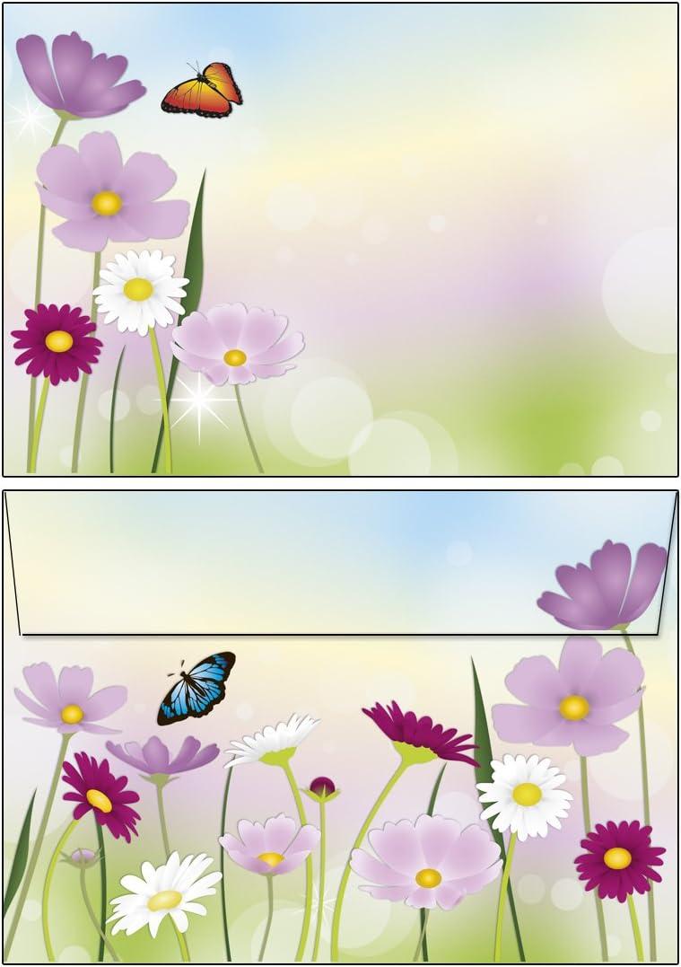 Schreibbl/öcke sch/öne Blumenwiese je 50 Blatt 1 St/ück Format DIN A5 liniert mit Deckblatt und 2 Notizbl/öcke DIN A6 ohne Deckblatt