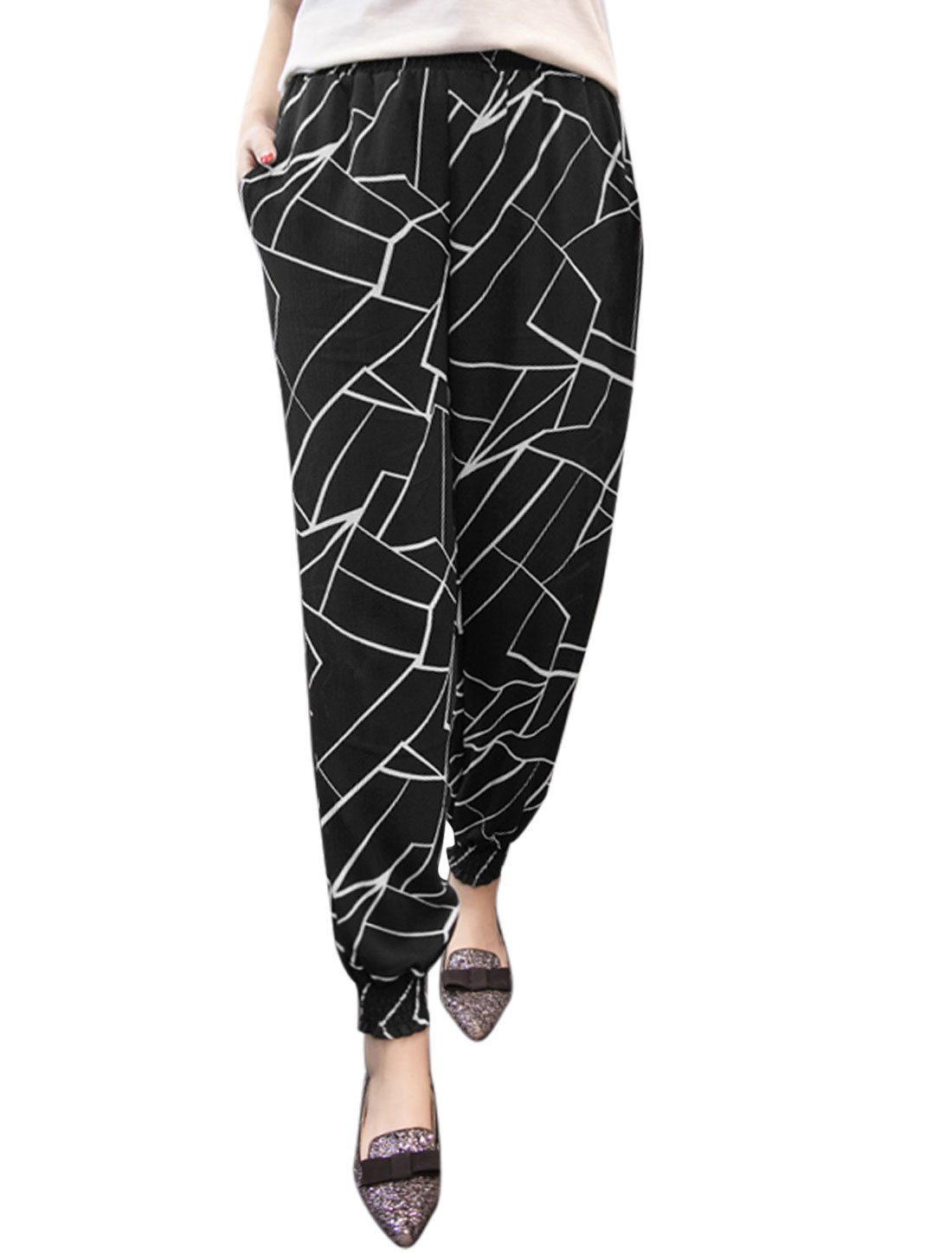 uxcell Women Shattered Glass Prints Tapered Cropped Pants Black M