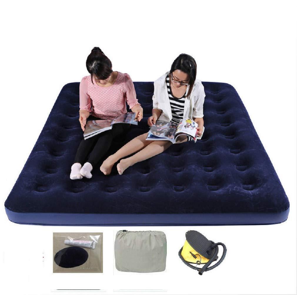 YOPEEN Luftmatratze aufblasbare Luftmatratze - Luftmatratzen Bett aufblasbare Downy Schlaf Restkissen Tragbar mit Luftpumpe für Schlafzimmer Camping, 183x203x22cm