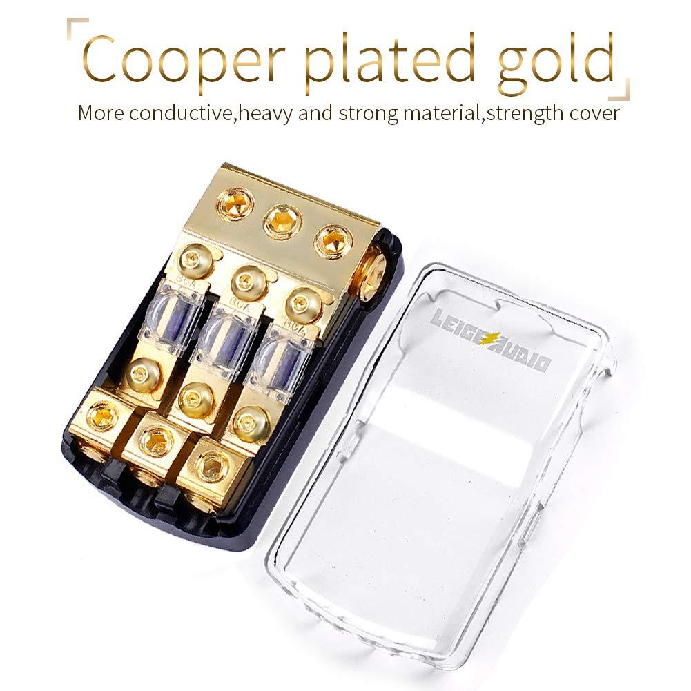LEIGESAUDIO Copper 0//4 Gauge to 4//8 Gauge 60 Amp Mini ANL 3 Way Fuse Holder Distribution Block