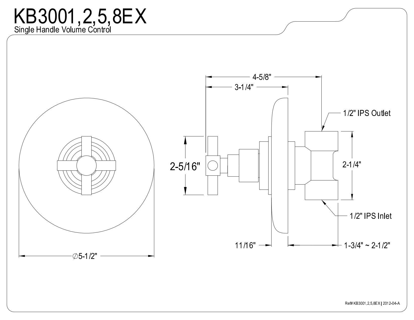 Kingston Brass KB3002EX Volume Control, Polished Brass