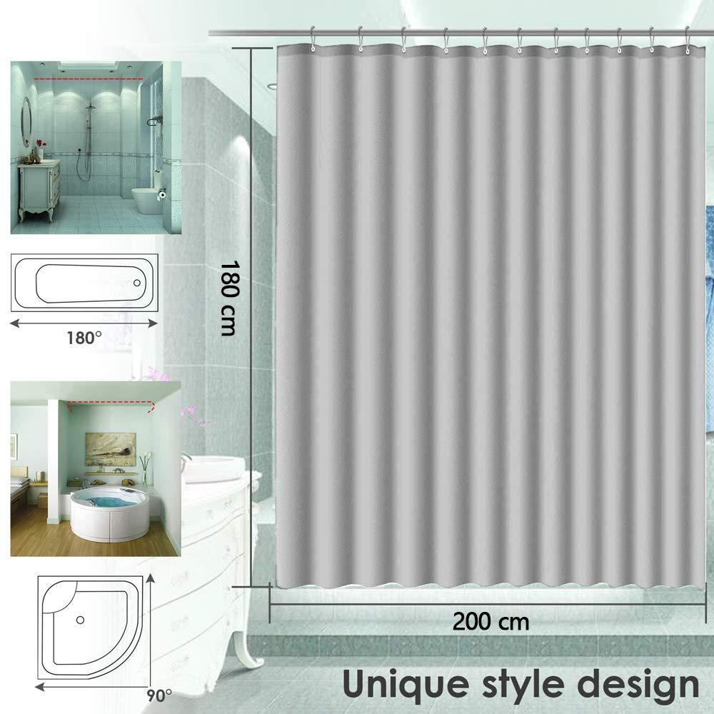 180 x 200 cm impermeabile tessuto antibatterico in poliestere tenda per vasca da bagno con 12 binari colore: grigio KIPIDA 120x180cm Tenda da doccia in tessuto antimuffa lavabile