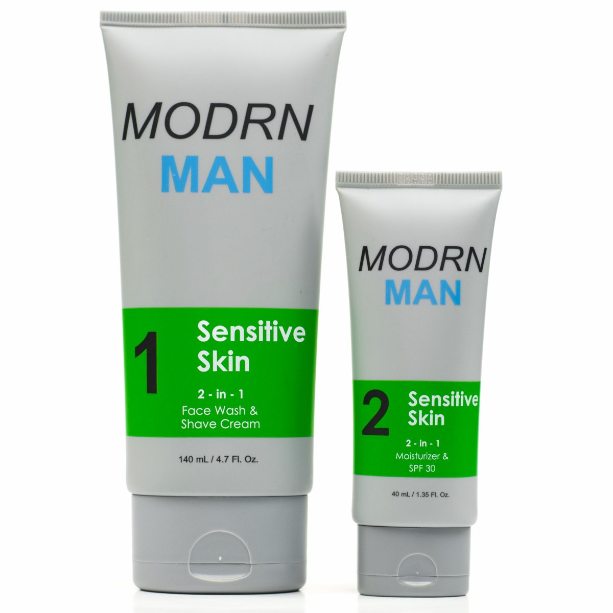 MODRN MAN Face Saving System For Men With Sensitive Skin | 2-in-1 Men's Face Wash & Shaving Cream | All-in-One Men's Face Moisturizer with SPF | Fragrance Free | 45 Day Supply