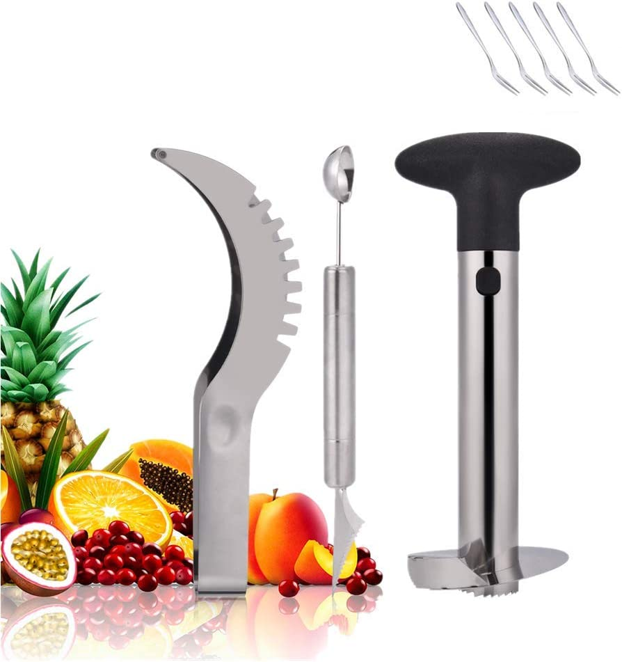 Pineapple Corer, Stainless Steel Fruit Slicer Set -Pineapple Corer and Slicer, Watermelon Slicer Cutter,Melon Baller Scoop 5 pack fruit fork - Creative Kitchen Slicing Kit