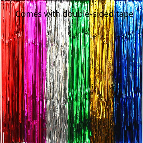 6 Pack Photo Foil Curtains Metallic Tinsel Backdrop Curtains Door Fringe Curtains for Wedding Birthday Christmas Halloween Disco Party Favour Decorations(6 colors) -