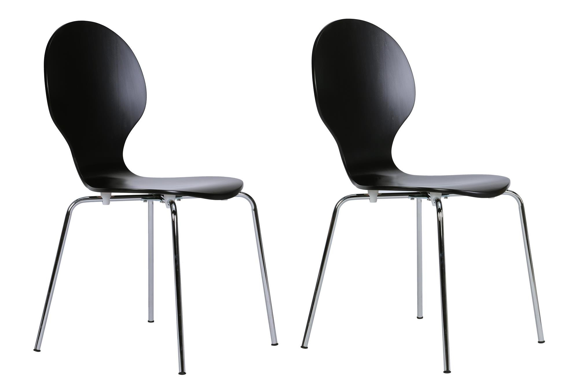 Novogratz Shell Bentwood Modern Round Chairs, Black, Set of 2
