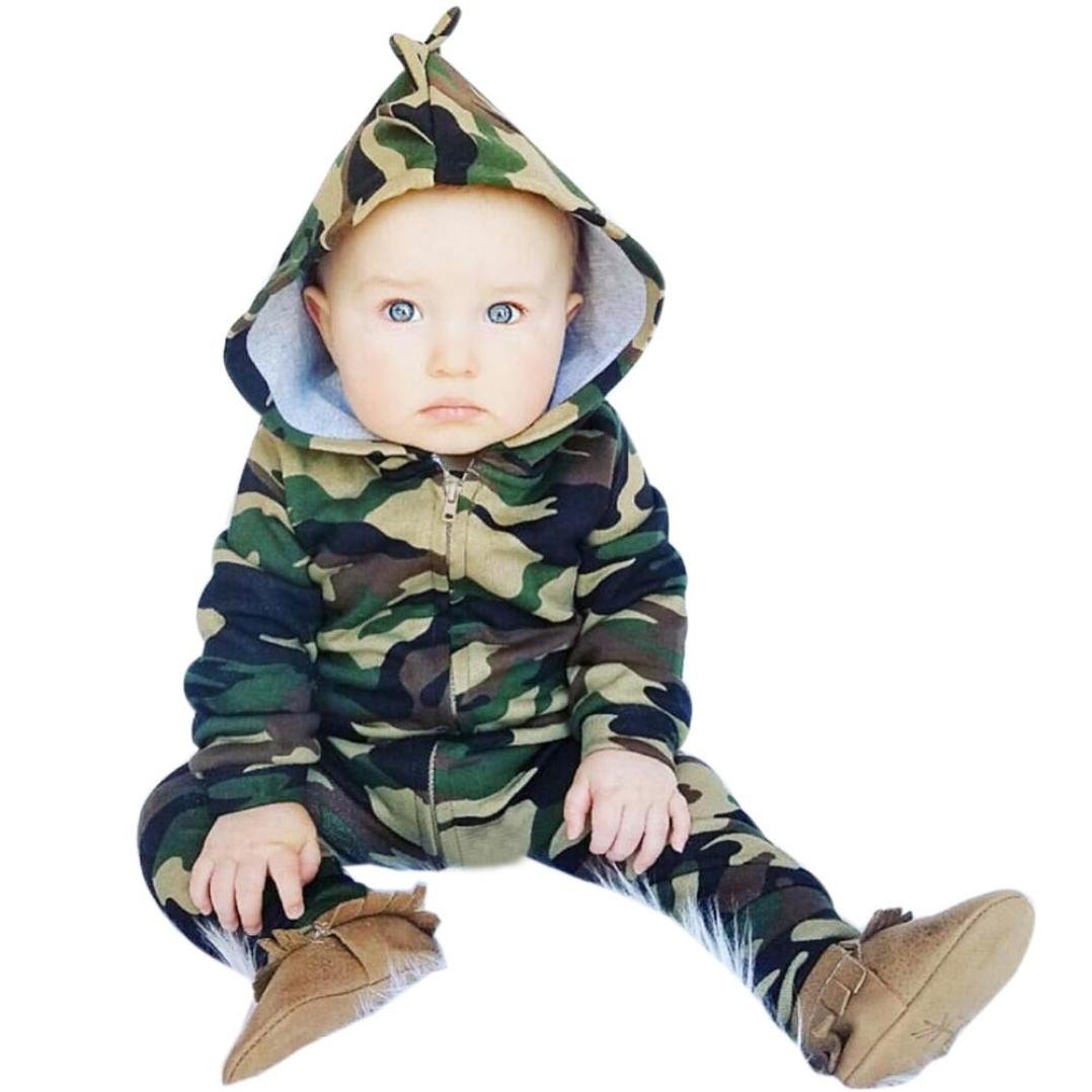 Sumen Baby Boys Girls Camouflage Hooded Romper Jumpsuit Clothes Outfit BESSKY