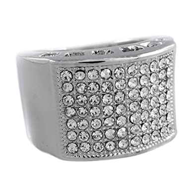 9a276c0e9fe04 NIV'S BLING - 14K White Gold-Plated Iced Out Micropave Pinky Ring